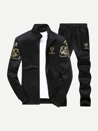 Men - Apparel - Activewear - Leggings Men Letter Print Jacket With Drawstring Pants fashion clothing accessories shoes jewelry