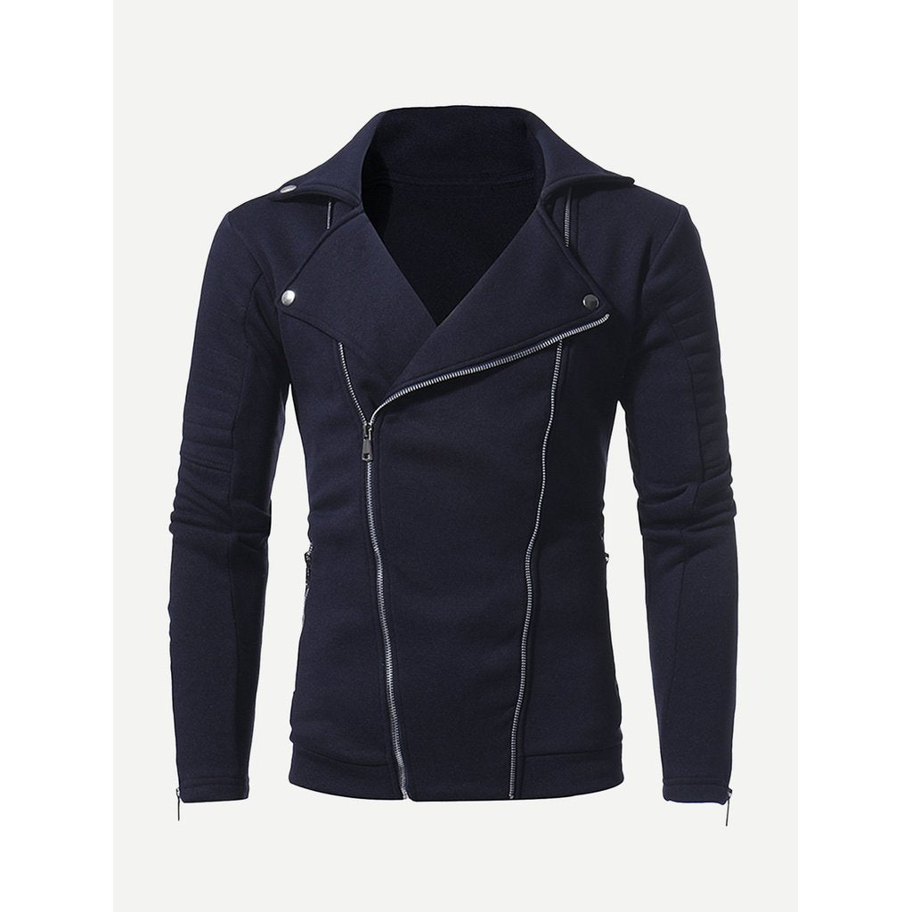 Men - Apparel - Outerwear - Coats Men Zip Decoration Plain Jacket fashion clothing accessories shoes jewelry