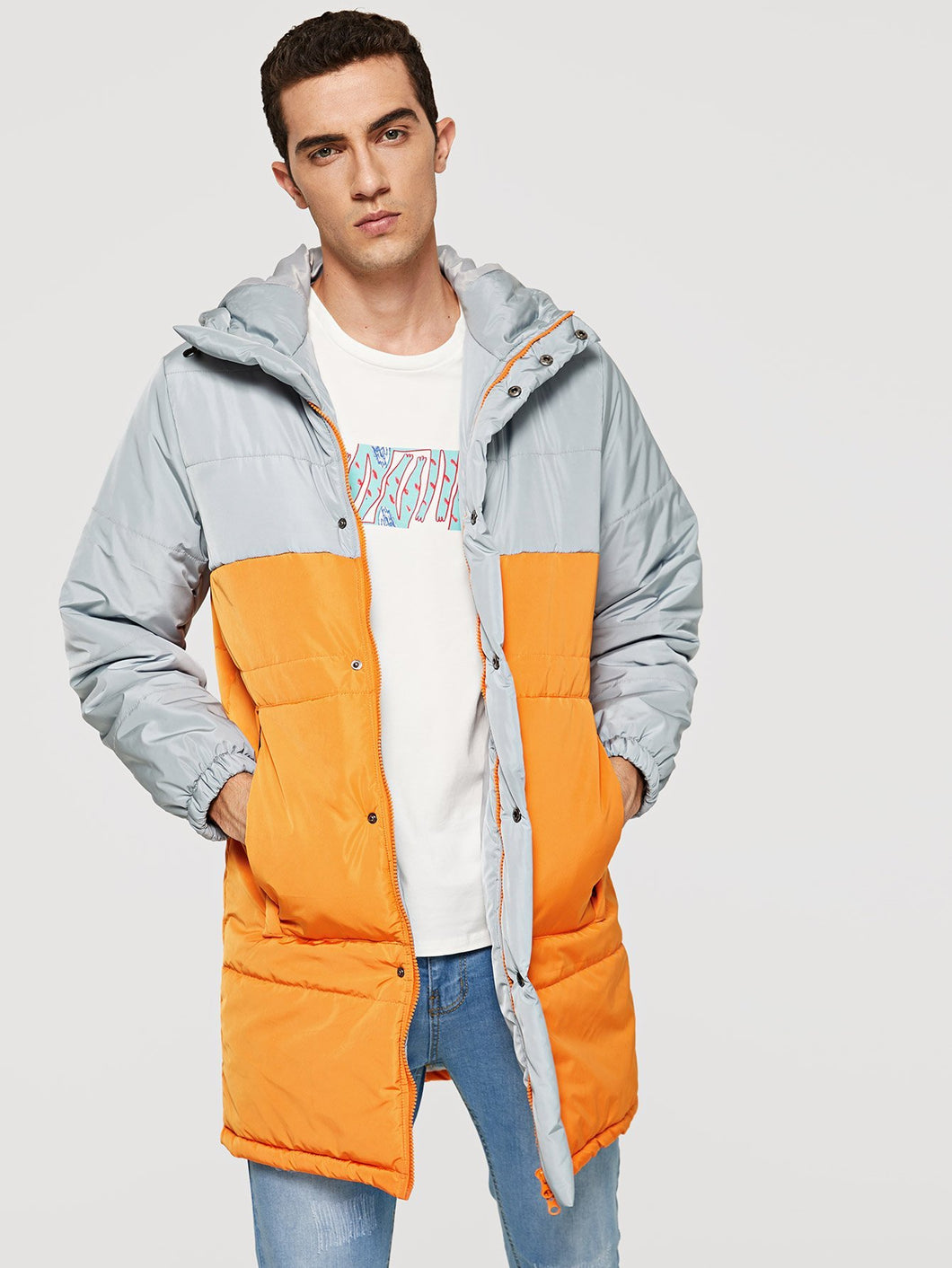 Men - Apparel - Outerwear - Jackets Men Cut and Sew Button Front Coat fashion clothing accessories shoes jewelry