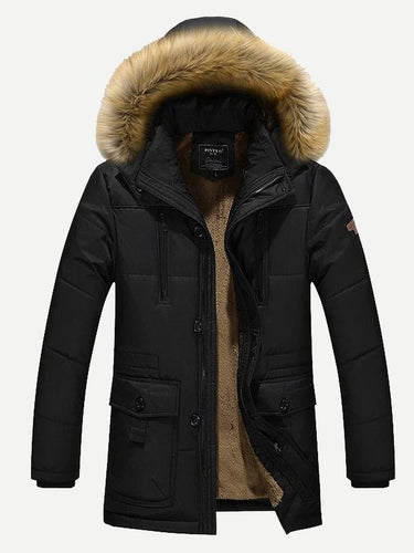 Men - Apparel - Outerwear - Jackets Men Fleece Lined Hooded Padded Coat fashion clothing accessories shoes jewelry