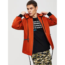 Men - Apparel - Outerwear - Jackets Men Letter Print Zip Detail Drawstring Hooded Jacket fashion clothing accessories shoes jewelry