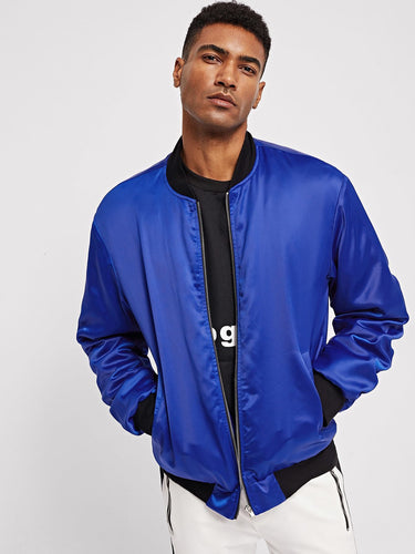 Men - Apparel - Outerwear - Jackets Men Ruched Sleeve Zip Up Satin Bomber Jacket fashion clothing accessories shoes jewelry
