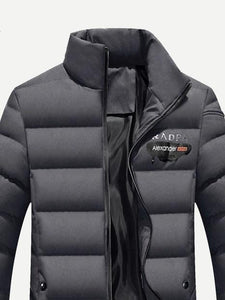 Men - Apparel - Outerwear - Jackets Men Solid Letter Print Padded Coat fashion clothing accessories shoes jewelry