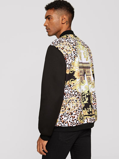 Men - Apparel - Outerwear - Jackets Men Solid Sleeve Mixed Print Bomber Jacket