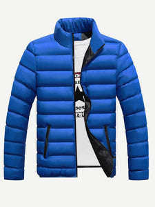 Men - Apparel - Outerwear - Jackets Men Stand Neck Solid Padded Coat fashion clothing accessories shoes jewelry