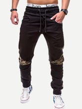Men - Apparel - Pants - Chino Men Contrast Camo Drawstring Waist Pants fashion clothing accessories shoes jewelry