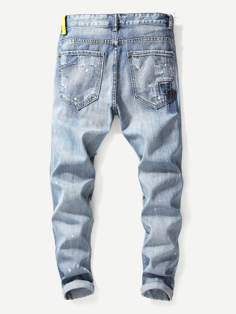Men - Apparel - Pants - Chino Men Destroyed Plain Jeans fashion clothing accessories shoes jewelry