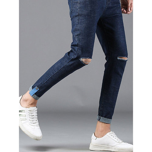 Men - Apparel - Pants - Chino Men Plain Destroyed Skinny Jeans fashion clothing accessories shoes jewelry