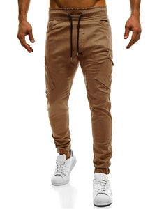 Men - Apparel - Pants - Chino Men Pockets Decoration Plain Drawstring Pants fashion clothing accessories shoes jewelry