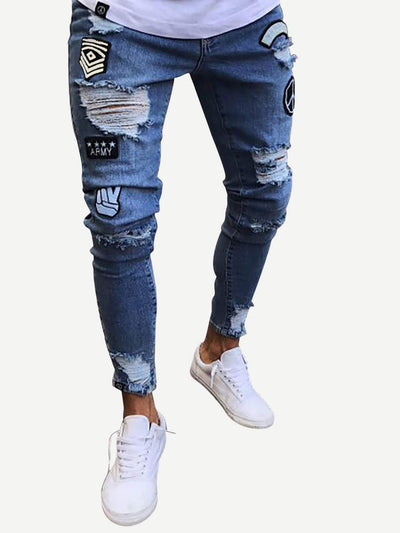 Men - Apparel - Pants - Chino Men Ripped Tapered Jeans fashion clothing accessories shoes jewelry