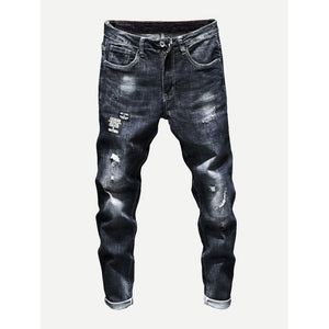 Men - Apparel - Pants - Chino Men Wash Rolled Hem Destroyed Jeans fashion clothing accessories shoes jewelry