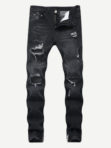 Men - Apparel - Pants - Chino Men Zipper Detail Ripped Jeans fashion clothing accessories shoes jewelry