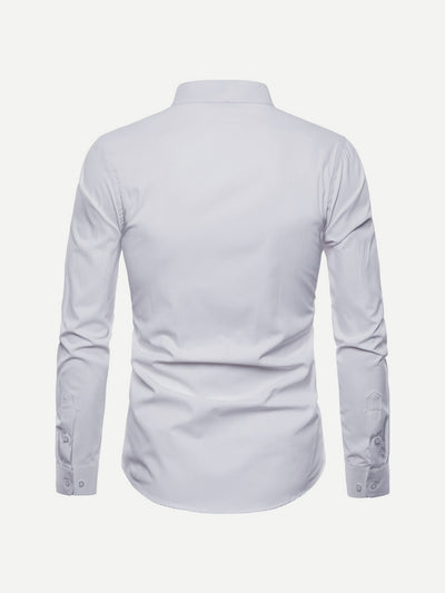 Men - Apparel - Shirts - Dress Shirts Men Curved Hem Stand Collar Solid Shirt fashion clothing accessories shoes jewelry