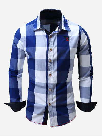 Men - Apparel - Shirts - Dress Shirts Men Embroidery Detail Roll-Up Sleeve Plaid Shirt fashion clothing accessories shoes jewelry