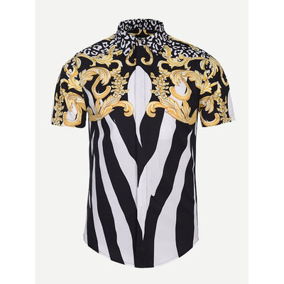 Men - Apparel - Shirts - Dress Shirts Men Floral Print Striped Blouse fashion clothing accessories shoes jewelry