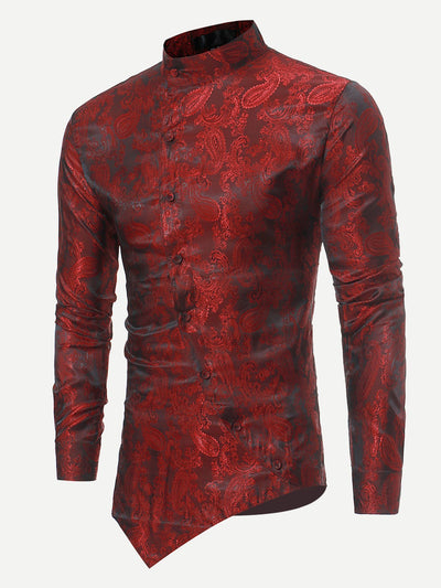 Men - Apparel - Shirts - Dress Shirts Men Jacquard Asymmetric Hem Shirt fashion clothing accessories shoes jewelry