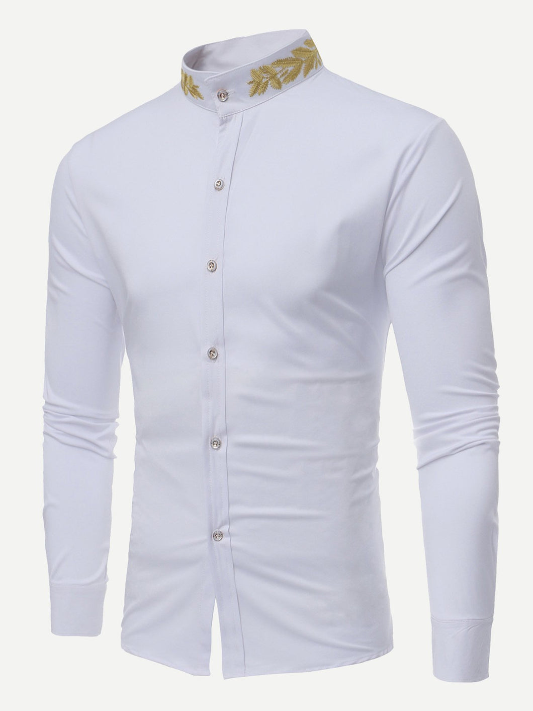 Men - Apparel - Shirts - Dress Shirts Men Wheat Ears Embroidery Shirt fashion clothing accessories shoes jewelry