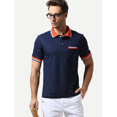 Men - Apparel - Shirts - T-Shirts Men Contrast Striped Polo Shirt fashion clothing accessories shoes jewelry