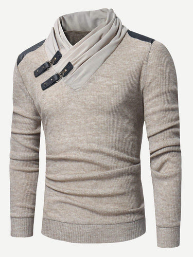 Men - Apparel - Sweaters - Crew Neck Men Buckle Detail Solid Jumper fashion clothing accessories shoes jewelry