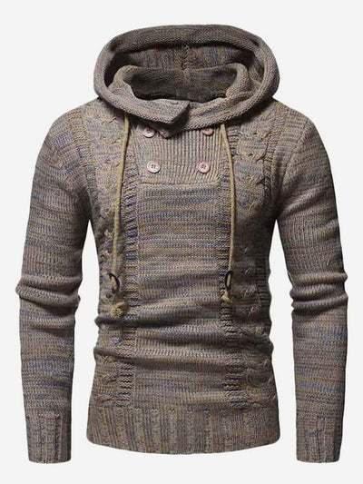 Men - Apparel - Sweaters - Crew Neck Men Cable Knit Hooded Jumper fashion clothing accessories shoes jewelry