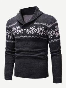 Men - Apparel - Sweaters - Crew Neck Men Christmas Snowflake Print Jumper fashion clothing accessories shoes jewelry