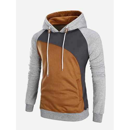 Men - Apparel - Sweaters - Crew Neck Men Cut And Sew Panel Hooded Sweatshirt fashion clothing accessories shoes jewelry
