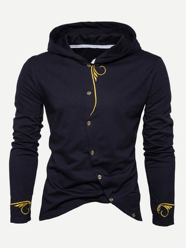 Men Embroidery Asymmetric Hem Hooded Coat