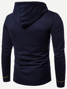 Men - Apparel - Sweaters - Crew Neck Men Embroidery Asymmetric Hem Hooded Coat fashion clothing accessories shoes jewelry