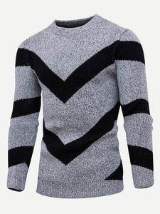 Men - Apparel - Sweaters - Crew Neck Men Geometric Print Jumper fashion clothing accessories shoes jewelry