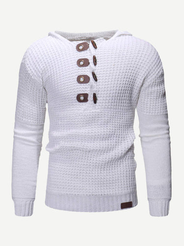 Men - Apparel - Sweaters - Crew Neck Men Horns Buckle Solid Sweater fashion clothing accessories shoes jewelry
