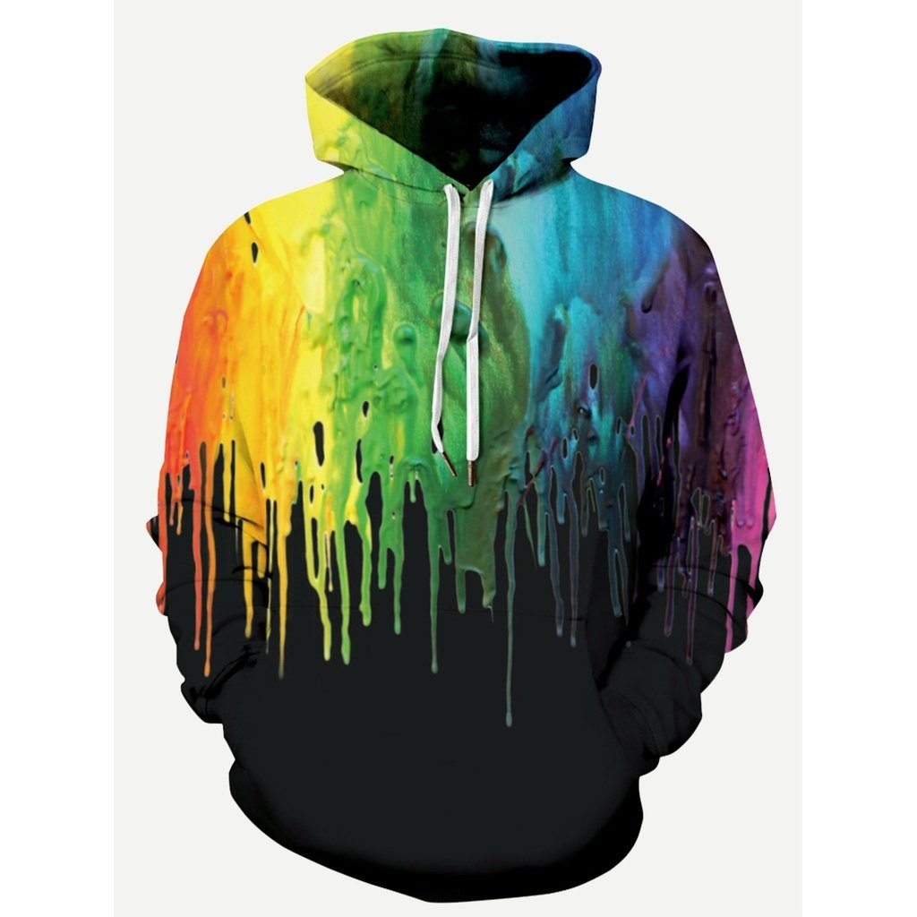 Men - Apparel - Sweaters - Crew Neck Men Paint Drip Print Hooded Sweatshirt fashion clothing accessories shoes jewelry