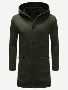 Men Solid Long Hooded Outer