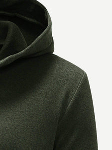 Men - Apparel - Sweaters - Crew Neck Men Solid Long Hooded Outer fashion clothing accessories shoes jewelry