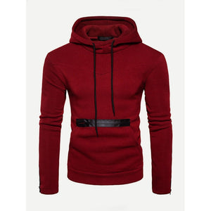 Men - Apparel - Sweaters - Crew Neck Men Zip Decoration Plain Hooded Sweatshirt fashion clothing accessories shoes jewelry