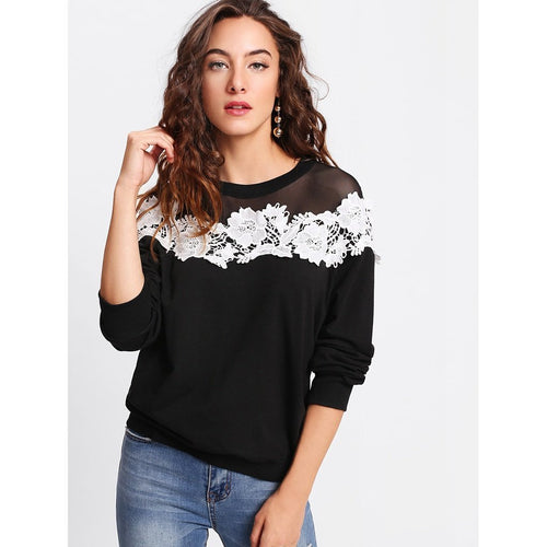 Mesh Yoke Lace Applique Pullover fashion clothing accessories shoes jewelry