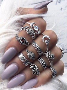 Moon & Flower Detail Ring Set 11pcs fashion clothing accessories shoes jewelry