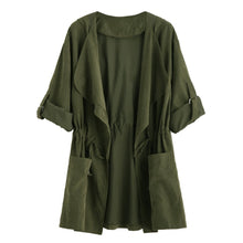 Olive Green Drape Collar Drawstring Waist Coat fashion clothing accessories shoes jewelry