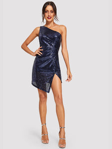 One Shoulder Solid Sequin Dress