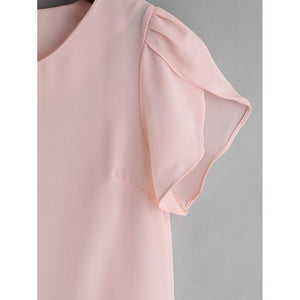 Petal Sleeve Chiffon Slim Blouse fashion clothing accessories shoes jewelry