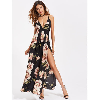 Plunging Strappy Back High Slit Florals Dress fashion clothing accessories shoes jewelry