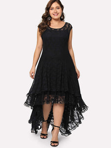 Plus Dip Hem Layered Floral Lace Dress fashion clothing accessories shoes jewelry