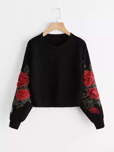 Plus Rose Embroidery Sweatshirt fashion clothing accessories shoes jewelry