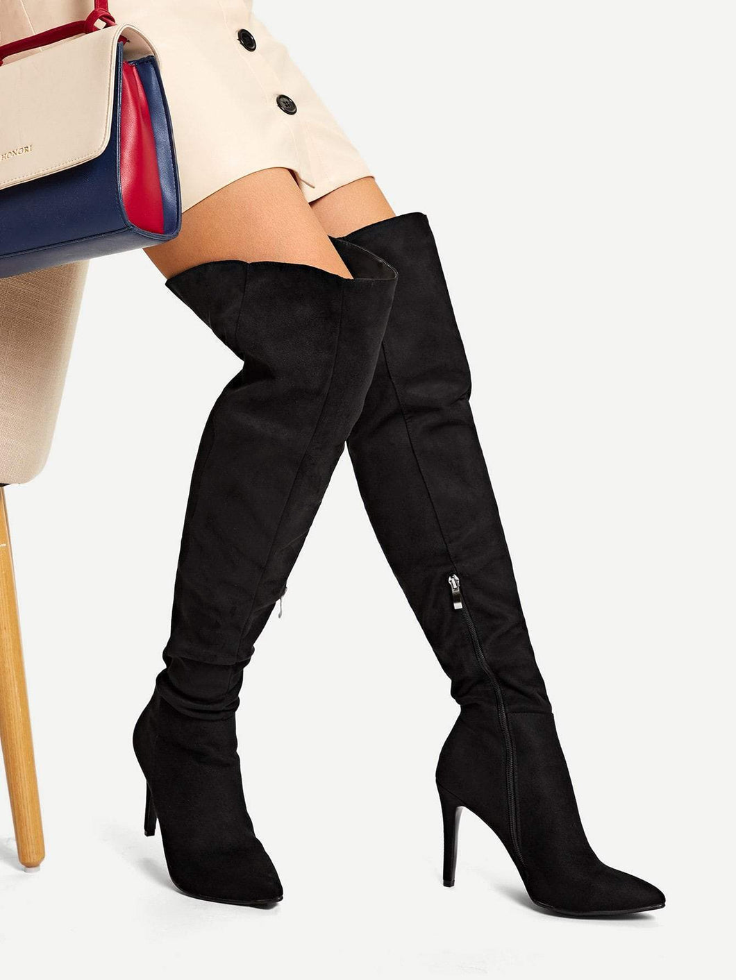 Point Toe Thigh High Suede Boots fashion clothing accessories shoes jewelry