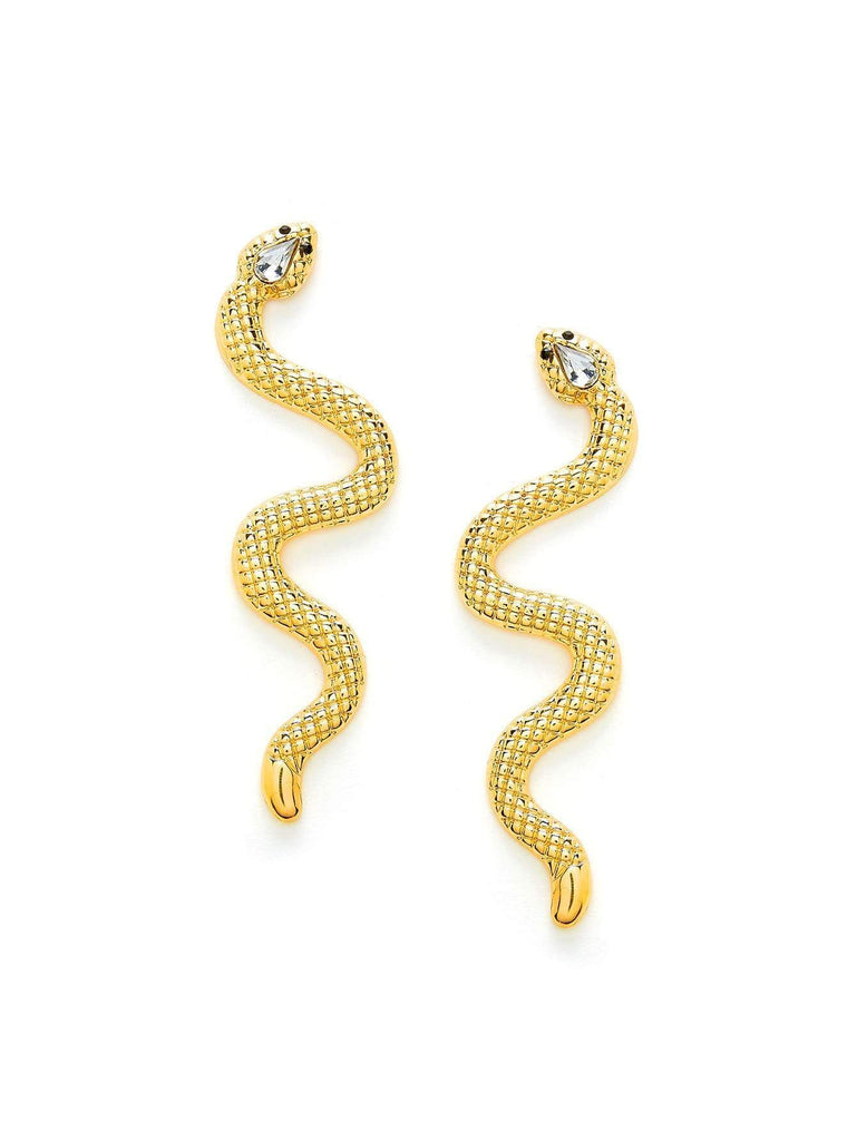 Rhinestone Detail Snake Earrings fashion clothing accessories shoes jewelry
