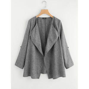 Rolled Up Cuff Drape Collar Marled Coat fashion clothing accessories shoes jewelry