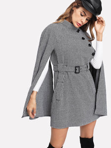 Self Belted Houndstooth Cape Coat fashion clothing accessories shoes jewelry