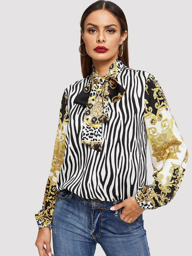 Tie Neck Mixed Print Top fashion clothing accessories shoes jewelry