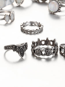 Turtle And Crown Design Ring Set fashion clothing accessories shoes jewelry
