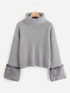 Turtle Neck Faux Fur Cuff Sweater fashion clothing accessories shoes jewelry