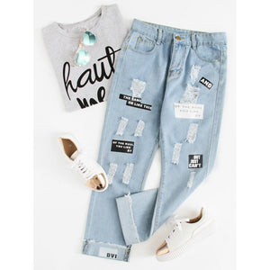Women - Apparel - Pants - Trousers Letter Print Ripped Jeans fashion clothing accessories shoes jewelry